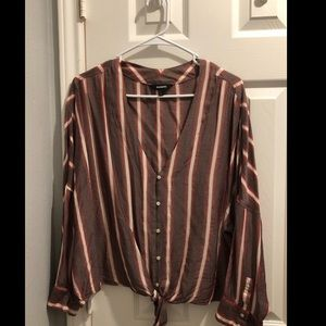 Express long sleeved tie front top
